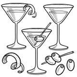 Bosquejo determinado de Martini stock de ilustración