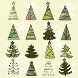 Bosquejo dibujado árboles de la mano La Navidad y Año Nuevo Fotografía de archivo