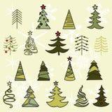 Bosquejo dibujado árboles de la mano La Navidad y Año Nuevo Foto de archivo libre de regalías