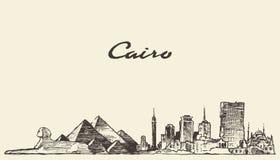 Bosquejo dibujado ejemplo de Egipto del horizonte de El Cairo Fotografía de archivo libre de regalías