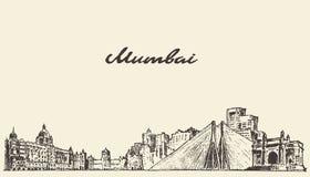 Bosquejo dibujado ejemplo del vector del horizonte de Bombay ilustración del vector