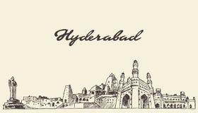 Bosquejo dibujado ejemplo del vector del horizonte de Hyderabad libre illustration