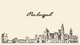Bosquejo dibujado ejemplo del vector del horizonte de Portugal Fotos de archivo libres de regalías