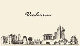 Bosquejo dibujado ejemplo del vector del horizonte de Vietnam stock de ilustración