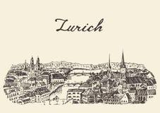 Bosquejo dibujado ejemplo del vector del horizonte de Zurich Fotografía de archivo
