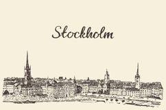 Bosquejo dibujado grabado vector del horizonte de Estocolmo Fotografía de archivo
