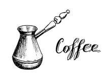 Bosquejo dibujado mano de Cezve del fabricante de café turco con las letras ilustración del vector