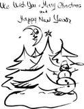 Bosquejo dibujado mano de la tinta Papá Noel en un trineo Imagen de archivo