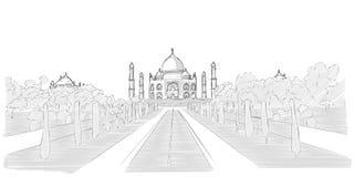 Bosquejo dibujado mano de Taj Mahal stock de ilustración