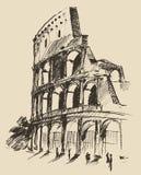 Bosquejo dibujado mano del ejemplo del vector del coliseo Imagenes de archivo