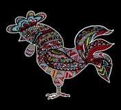 Bosquejo dibujado mano en la forma de un gallo ilustración del vector