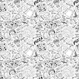 Bosquejo dibujado mano inconsútil del modelo de la pizza La pizza garabatea el fondo de la comida con la harina y los otros ingre stock de ilustración