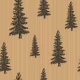 Bosquejo dibujado mano retro, modelo inconsútil del árbol de pino del vintage Ilustración del vector Imagenes de archivo