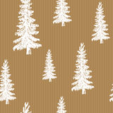 Bosquejo dibujado mano retro, modelo inconsútil del árbol de pino del vintage Ilustración del vector Imagen de archivo