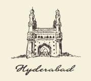 Bosquejo dibujado vector de Hyderabad la India Charminar ilustración del vector