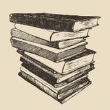 Bosquejo dibujado vintage del vector de los libros viejos de la pila Foto de archivo libre de regalías