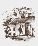 Bosquejo digital original de Kyiv, paisaje de la sepia de la ciudad de Ucrania stock de ilustración