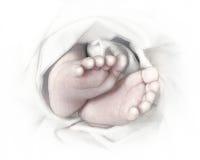 Bosquejo drenado mano del lápiz de los pies del bebé Foto de archivo