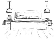 Bosquejo drenado mano Bosquejo linear de un interior Línea dormitorios del bosquejo Ilustración del vector Imágenes de archivo libres de regalías