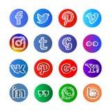 Bosquejo e icono y botones sociales del sphare medios stock de ilustración