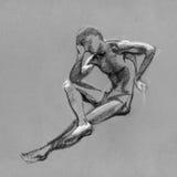 Bosquejo en carbón de leña y tiza del cuerpo desnudo del hombre Fotos de archivo
