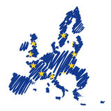 Bosquejo Europa (vector) de la correspondencia Imágenes de archivo libres de regalías