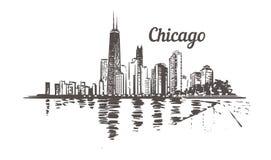 Bosquejo exhausto de Chicago de la costa Horizonte de Chicago aislado ilustración del vector