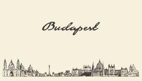 Bosquejo exhausto de la ciudad del vector de Hungría del horizonte de Budapest ilustración del vector