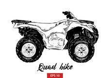 Bosquejo exhausto de la mano de la bici del patio en negro aislada en el fondo blanco Dibujo detallado del estilo de la aguafuert libre illustration