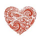 Bosquejo exhausto de la mano del vector del corazón con el ejemplo de los ornamentos en el fondo blanco ilustración del vector