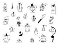 Bosquejo exhausto de la mano del vector del ejemplo de las botellas del parfume en el fondo blanco libre illustration