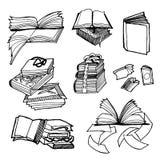 Bosquejo exhausto de la mano del vector del ejemplo de libros en el fondo blanco stock de ilustración