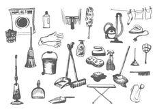 Bosquejo exhausto de la mano del vector del ejemplo de los artículos de la limpieza en el fondo blanco ilustración del vector