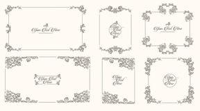 Bosquejo exhausto de la mano del vector del ejemplo de los marcos del vintage en el fondo blanco libre illustration