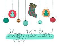 Bosquejo exhausto de la mano de la Feliz Año Nuevo Ejemplo caligráfico para el diseño del día de fiesta del Año Nuevo, postal, ta stock de ilustración