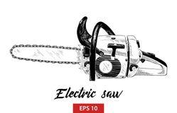 Bosquejo exhausto de la mano de la herramienta eléctrica de la sierra en negro aislada en el fondo blanco Dibujo detallado del es stock de ilustración