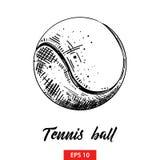 Bosquejo exhausto de la mano de la pelota de tenis en negro aislada en el fondo blanco Dibujo detallado del estilo de la aguafuer libre illustration