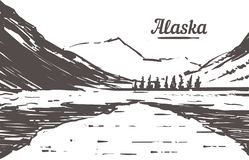 Bosquejo exhausto del horizonte de Alaska Ejemplo del vector de Alaska stock de ilustración