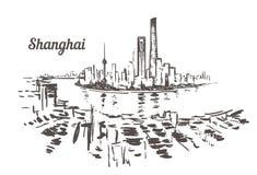 Bosquejo exhausto del horizonte de Shangai Ejemplo del vector de Shangai libre illustration