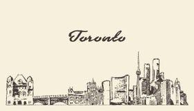 Bosquejo exhausto del vector de la mano de Canad? del horizonte de Toronto stock de ilustración