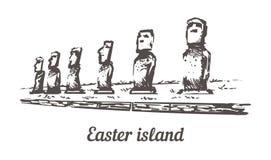 Bosquejo exhausto Moais en Ahu Tongariki en el ejemplo de la isla de pascua stock de ilustración