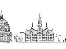 Bosquejo famoso del viaje de Copenhague, Dinamarca stock de ilustración