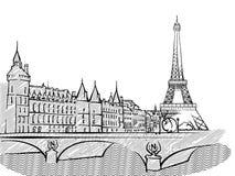 Bosquejo famoso del viaje de París, Francia stock de ilustración