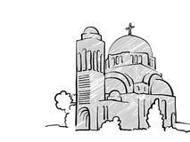 Bosquejo famoso del viaje de Pristina, Kosovo stock de ilustración