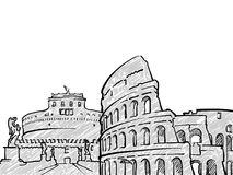 Bosquejo famoso del viaje de Roma, Italia stock de ilustración