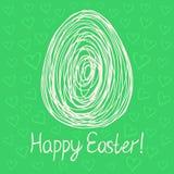 Bosquejo feliz del huevo de Pascua en fondo verde ilustración del vector
