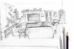 Bosquejo gráfico de la sala de estar con las herramientas de dibujo Imagen de archivo