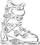 Bosquejo hecho a mano de la bota de esquiar Foto de archivo