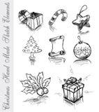 Bosquejo hecho a mano de los elementos del diseño de la Navidad Imágenes de archivo libres de regalías