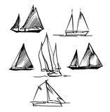 Bosquejo hecho a mano de navegar y del mar Imagen de archivo